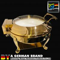 Buy cheap Luxury Golden 6L Round Chafing Dish Of Tiger Feet Frame With Ceramic Pan from wholesalers