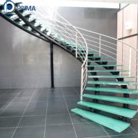 Buy cheap Interior Stainless Steel Glass Tread Round Curved Stairs for house from wholesalers