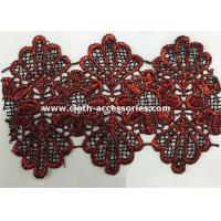 Buy cheap Red Scallop Edge Water Soluble Lace Trim Floral Shape 14.5 Yards One Roll from wholesalers