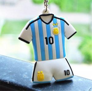 Buy cheap PVC 3D Football Uniform Logo Keychains , Football Fan Rubber Keychains product