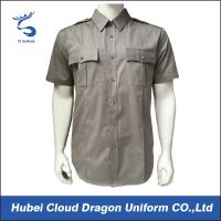 Buy cheap Grey Short Sleeve Security Guard Shirts , Military Uniform Work Shirts With Collar Stays from wholesalers