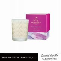 Buy cheap Frosted Pattern Caramel Scented Jar Candles , Glass Jar Scented Candles from wholesalers