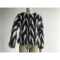 Buy cheap Black / White Short Ladies Fake Fur Coats Round Neckline With 3/4 Sleeve TWS014553 from wholesalers