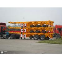 China Q345 Material Flat Bed Semi Trailer Truck For 20 Or 40 Feet Container Carrying on sale