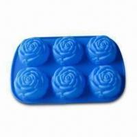 Buy cheap Rose Shape Ice Cube Tray, Comes in Blue, Made of 100% Silicone, arious Shapes are Available product