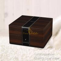 Buy cheap Luxury Tow-tones Branded Wooden Watch Gift Box Case with Leather Belt Decoration , Personalized Logo Brand. product