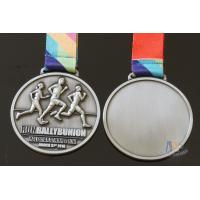Buy cheap Half Marathon Or 10K Running Custom Sports Medals Antique Silver Plating Sublimated Ribbon from wholesalers