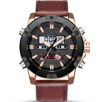 Buy cheap leather strap analog digital dual display waterproof 30m  sports watches for men from wholesalers