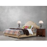 Buy cheap American leisure style Split Leather Upholstered Headboard Kind Bed with Wooden Furniture for Villa house Bedroom used from wholesalers
