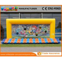 China PVC Tarpaulin Yellow Funny Kids Inflatable Soccer Gate Inflatable Football Net on sale