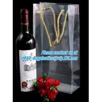 Buy cheap Handle Wine Bottle Paper Bags With Two Side Logo,transparent wine gift pp bag, plastic bag with handles bagplastics pac from wholesalers