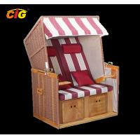 Buy cheap Leisure Rattan Wooden Chair Outdoor Furniture Beach Chair Two Seat Red / White Color product