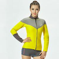Buy cheap Yellow gray Two piece surf suit ladies wetsuits jacket and shorts 2.5MM neoprene suit on sale from wholesalers
