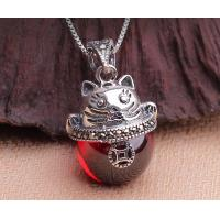 Buy cheap Dollar cat pendant necklace, 925 sterling silver necklace, garnet gemstone necklace from wholesalers