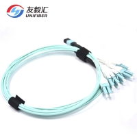 Buy cheap Multimode Female APC Polish 3m 10G OM3 MPO patch cable from wholesalers
