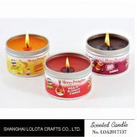 Buy cheap Small Exquisite Wax Scented Tin Candles Round Sticker For Travel And Festival from wholesalers