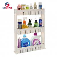 Buy cheap 3-tier plastic mobile shelf organizer with large baskets slim slide out storage rack for narrow gap spaces with wheels from wholesalers