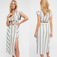 Buy cheap 2018 Summer Clothing Deep V Neck With Split Striped Boho Dress For Women from wholesalers