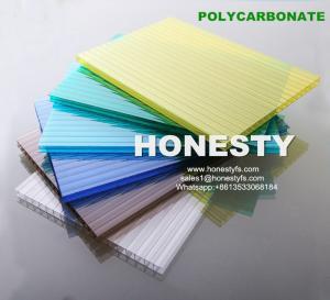 Buy cheap fire retardant hollow plastic sheet 4mm 6mm 8mm 10mm hollow polycarbonate sheet Foshan Honesty polycarbonate sheet product