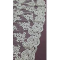 Buy cheap 140cm Sequin Beaded Ivory Lace Fabric , White Embroidered Bridal Wedding Lace product