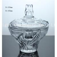 Buy cheap luxury design glass fruit plate, glass candy container with lid from wholesalers