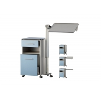 Buy cheap Blue Color Mobile Hospital Medical Bedside Cabinet On Wheels With Tilting Table from wholesalers