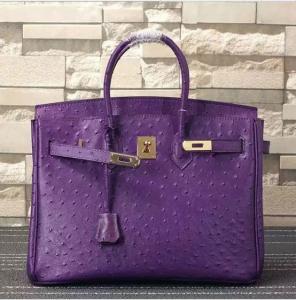 China women high quality 35cm purple Ostrich print cow skin handbag fashion designer handbags L-RB4-17 on sale