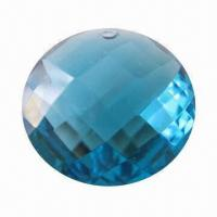 Buy cheap Semi-precious gems, blue double checkerboard facet cutting with drilling hole for jewelry from wholesalers