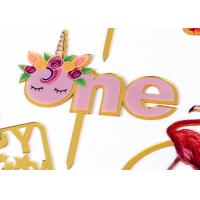 Buy cheap Non - Toxic Acrylic Cake Topper For Happy Birthday / Wedding Party Decorations from wholesalers