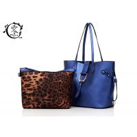 Buy cheap Women's Handbag Genuine Leather Shoulder Tote Bags Middle Size Reflective Blue Color from wholesalers