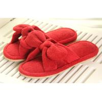 Buy cheap Red / white L Bowknot Beautiful Soft Unique Indoor plush slippers for lady from wholesalers
