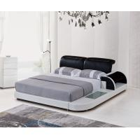 Buy cheap Black And White Color Soft Bedroom Furniture Wooden Leather Double Bed from wholesalers