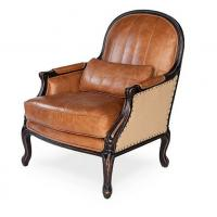 Buy cheap classic wood chair designs antique wood carved back chair vintage leather club chair from wholesalers