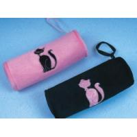 Plush round pen case with cat embroidery