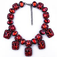 Buy cheap Fashion women chokers chunky statement five colors gemstone necklace rhinestone bead from wholesalers