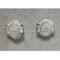 Buy cheap Grid Compass Sterling Silver Stud Earrings For Ladies With Small Clear Cz from wholesalers