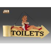 Buy cheap Funny Fat Lady Toilet Direction Signs Decorative Polyresin Figurine Wall Hanging Sign from wholesalers