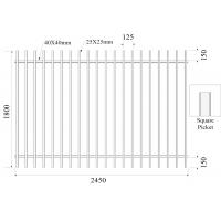 Buy cheap Square Picket 25mmx25mm Diplomat Fencing H1800mmxW2400mm Rails 40mm x 2 Powder coated Black from wholesalers