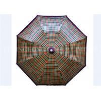 UV Print Vintage Lightweight Folding Umbrella , Gird Pattern Automatic Sun Umbrella