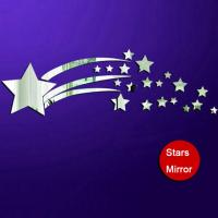 China stars PS wall decal,1MM thickness 3D mirror stickers,20 stars home decor kids bedroom on sale