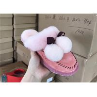 Buy cheap Light Pink Soft Sole Sheep Wool Slippers for Bedroom , Womens House Slippers from wholesalers