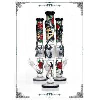 "12 Arms Perc 18"" Straight Glass Bongs Cooper Art On Pipes Custom Tobacco Tube Glass"