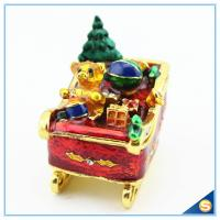 Buy cheap Enamel Craft Cute Bear Trinket Box Crystal Boat Shape Jewelry Box For Festival Gifts SCJ768 from wholesalers