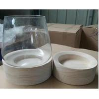 Buy cheap Glass Candle Container with Wood Bottom Seat, Glass Jars with Wooden Base from wholesalers