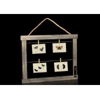 """Buy cheap Horizontal Rectangle 16""""x20"""" Wooden Picture Frame With Clips In Distressed Dark Gray from wholesalers"""