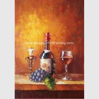 Small Abstract Still Life palette knife art  Wine Bottle Fruit Customized size Color