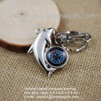 Buy cheap Deluxe silver metal compass keychain, metal fish design hiking compass keyring, from wholesalers