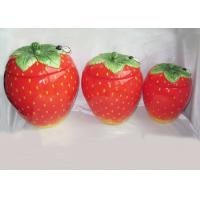 Buy cheap Strawberry Shaped Sealed Ceramic Kitchen Canisters 3 Set Hand Painted from wholesalers