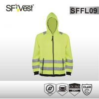 Buy cheap EN ISO 20471 zipper closure fleece hoodie jacket high visibility apparel from wholesalers