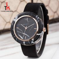 Buy cheap Black Marble Face Watch Mens Genuine Leather Straps Water Resistant 3 Atm from wholesalers